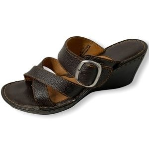 BORN Brown Leather Wedge Slide Comfort Sandals Size 10